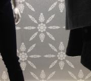 Holiday windows installed with digitally printed wallpaper with glitter screen printed .