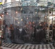 Large scale printed fabric on see through material for cosmetic company event