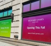 Vinyl graphics applied to windows to help advertise new space in NYC