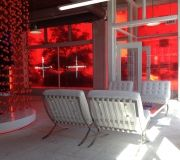 Translucent window film illuminates retail environment.