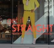 Bright colors, crisp text and large images create winning window graphics.