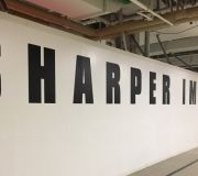 POP UP STORE branding with large cut vinyl letters
