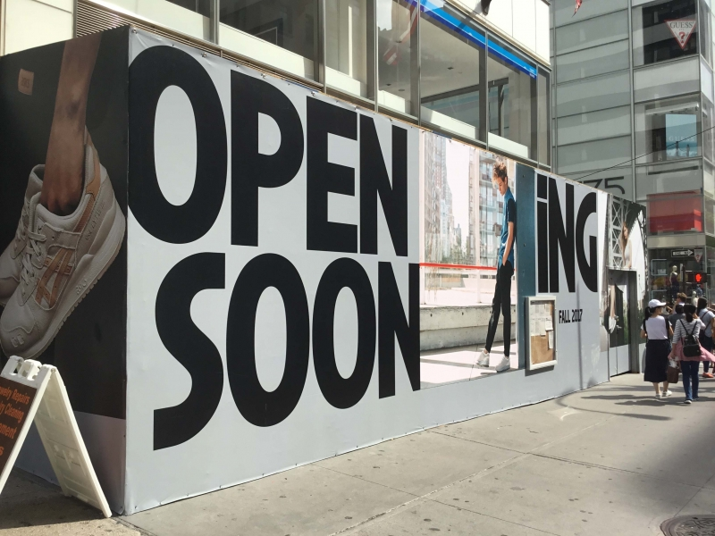 Construction Barricade printing for stores opening soon