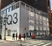New store opening gets massive branding with large format vinyl mesh  building  wrap