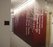 Sony Music corporate offices in New York, add corporate branding to the décor of hallways.