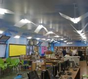 Digitally printed wallpaper is used here to create a positive learning experience in this Public Library.