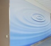 Custom printed wallpaper  for corporate interiors  are great for  branding environments.