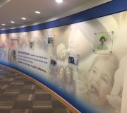 Corporate interiors are branded with digitally printed wallpaper. Perfect way to enhance environments with images or inspirational branding .