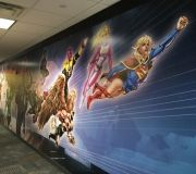 Corporate interiors for media company brand walls with large format images .