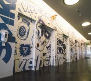 Vinyl printed wall paper for elevator wraps at NYC corporation