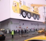 Barricade vinyl graphics under the worlds largest video screen in Times Square NYC