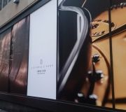 New store opening installation of giant window vinyl graphics. Digitally printed and installed by Color X