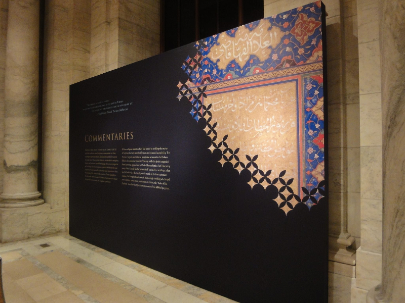 For the three faiths exhibition at the nypl we used large scale cut vinyl to install