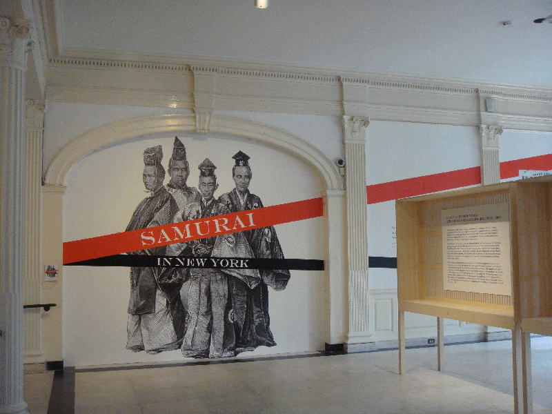 The mcny samurai exhibit uses large printed vinyl images for visuals and cad cut vinyl for