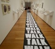 The Gallery walls of Print Out exhibit at MoMA use printed wall vinyls
