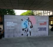 Digital large format printed vinyl and wrapped to create free standing wall