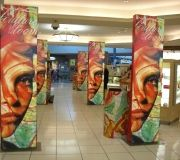 These custom tower graphics were designed for MAcys nationwide roll out for cosmetics promotion