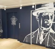 Vinyl printed wallpaper transform space at mens retailer