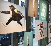 double sided printing direct to boards for eye catching window display Nike SoHO NYC - printed and installed by ColorX