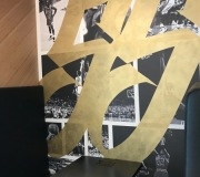 digitally printed wallpaper and custom painting of numbers in gold metallic