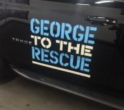 Cut vinyl logo for NBC - George to the Rescue